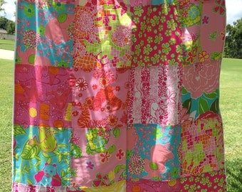 Lilly Pulitzer Baby Blanket ~ Lilly Pulitzer Patchwork Blanket ~ Lilly Pulitzer Baby ~ Baby Girl Patchwork Quilt ~ Photo Prop ~ Zoo Animals