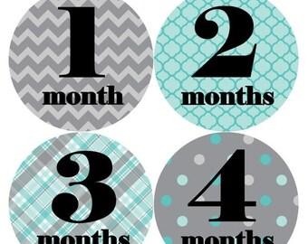 Monthly Baby Milestone Stickers Baby Boy Baby Shower Gift One-Piece Baby Stickers Monthly Baby Stickers Baby Month Sticker 088