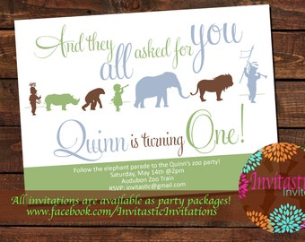Zoo Birthday Party Invitation -Safari, Jungle or Zoo, Animal Birthday Theme, Audubon Zoo, New Orleans themed invitation. Animal silhouette