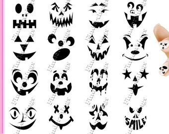 Halloween Trick or Treat Pumpkin Face Scary Nail Decal Stickers FCE901