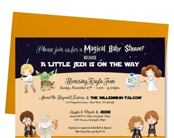 Harry Potter Star Wars Baby Shower Invitation - Shower Invite - Harry Hermione Ron Dumbledore - Luke Leia Yoda R2D2  - Printed and Shipped