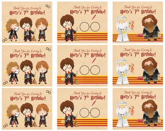 Harry Potter Tags - Harry Potter Favor Tags - Harry Potter Goody Bag Tags - Birthday Kids Tags - Harry Ron Hermione - Printed and Shipped