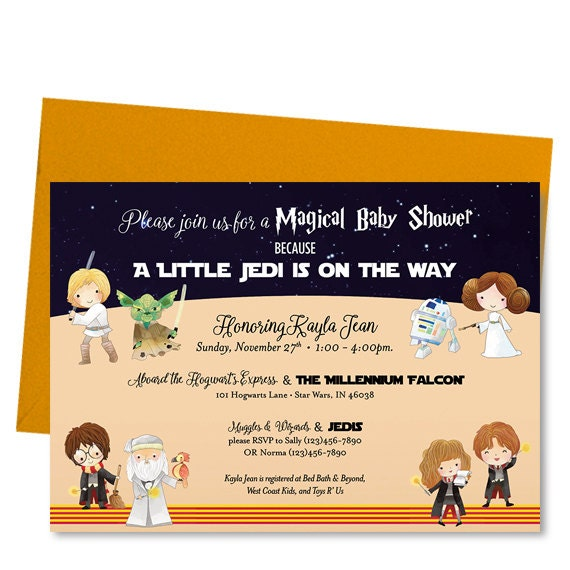 Harry Potter Baby Shower: Harry Potter Star Wars Baby Shower Invitation Shower Invite