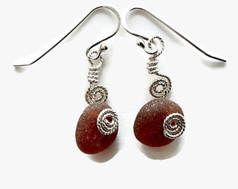 Amber Beach Glass Earrings Wire Wrapped,  English Sea Glass Jewelry Handmade, Handcrafted Sterling Silver Metalwork