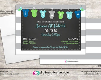 Boy Baby Shower Invitations. It's a Boy. Printable invitation in clothes line in blue green and gray, digital files