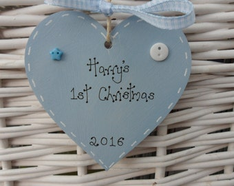 Baby's First 1st Christmas tree personalised decoration 8cm blue