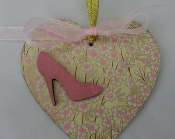 handcrafted wooden heart silk screened paper for mums, sisters, friends , aunties etc