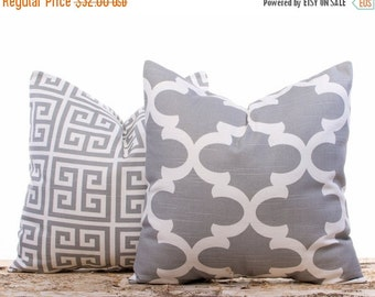 SALE ENDS SOON Grey Throw Pillows, Cushion Covers, Pillows, Modern Home Decor, Pillowcases, Two 16 x 16""