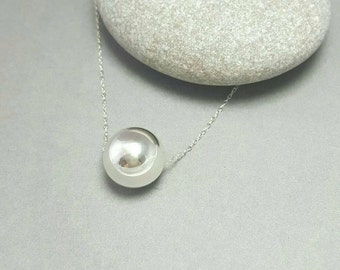Sterling silver ball necklace / Silver pendant / Large silver 16mm bead necklace / Simple modern edgy necklace / Handmade UK