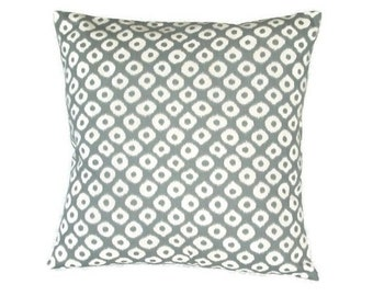 Grey and White Ikat Fabric Decorative Pillow Cover, Throw Pillow Cover, 18 x 18 inches