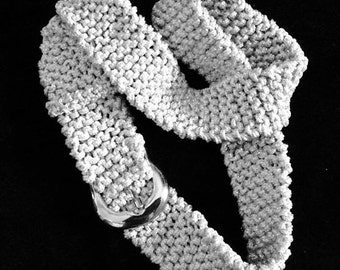Silver Belt, Knitted Belt with silver and white thread