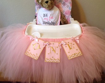 Pink and Gold Heart High Chair Banner and Tutu, One,  Baby's first birthday, 1St birthday, Pink and Gold party