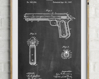 Colt Automatic Pistol of 1900 Patent Poster, Firearm, Gun Enthusiast, Police Gift, Military Gift, Gun Print, PP0770