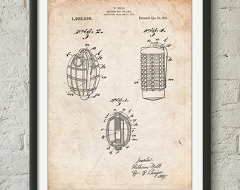 Hand Grenade 1915 Patent Poster, Artillery, Explosives, Military Gift, Army Wall Art, Man Cave, PP0866