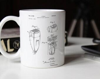 Electric Shaver Patent Mug, Bathroom Mug, Vintage Razor, Barber Shop Decor, PP1011