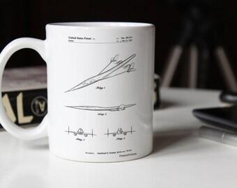 Supersonic Transport Concept Patent Mug, Airplane Mug, Aviation Decor, Pilot Gift, Airplane Nursery, PP0751