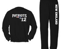 Unisex Black Patriots 12 Football Sweatpants Sweat Suit Shirt Lounge Set Jogging