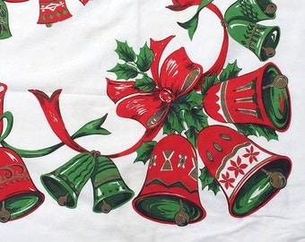 Vintage Tablecloth Christmas Bells Cotton 1950s