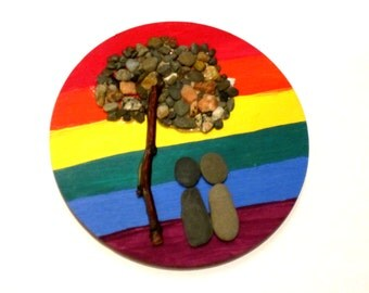 Rainbow of Love Pebble Art Magnet; Lesbian Magnet; Gay Magnet; Pride Magnet; Tree of Life; peace and serenity magnet; LGBTQ Magnet, Love Art