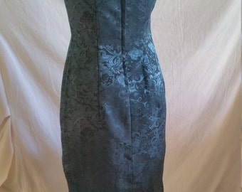 Vintage green paisley Stiletto dress size 10 Made in Australia