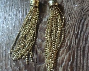 Hip & Cool Ball Chain Tassels, Tassle Pendant, Charm, Necklace Focal - Bright Brass - 10x70mm - 01 Each