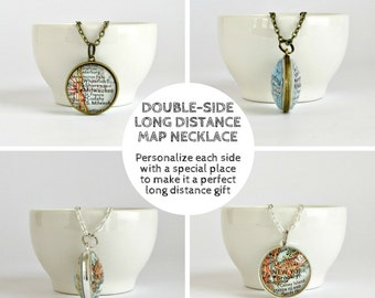 Personalized Long Distance Necklace, LDR Christmas gift for Her, Girlfriend Distance Gift, Distance Necklace, Map Necklace, Gifts Under 50