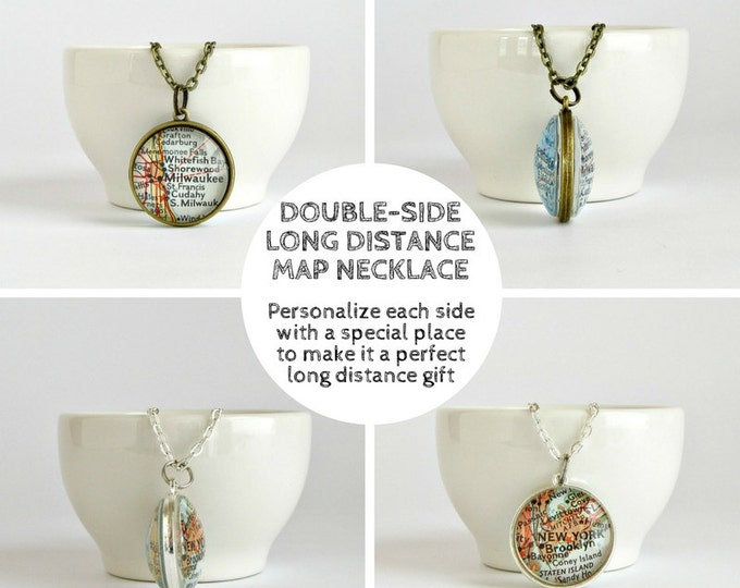 Featured listing image: Personalized Long Distance Necklace, LDR Christmas gift for Her, Girlfriend Distance Gift, Distance Necklace, Map Necklace, Gifts Under 50