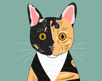 Pet portrait. Cat portrait. Custom cat Portraits. Bespoke quirky portrait. Custom illustration. Custom pet Portraits.
