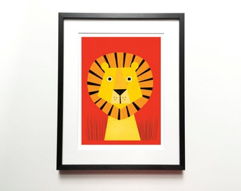 Lion print – Cat print, Animal Illustration, Animal Print, Kids room art, Nursery room Art, Baby nursery decor, Wall art, Home decor