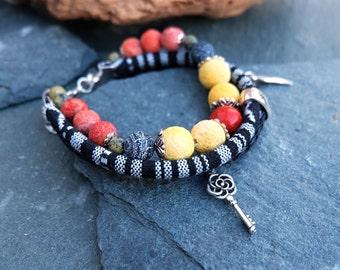 Black Red Multistrand Bracelet-Charms Boho  Bracelet-Beaded Bracelet-Crystal Gemstone Bracelet-Coral bracelet-Agate Bracelet-Coral Jewelry