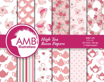 Tea time digital papers, Teapot, tea cups, cups papers, Floral tea time papers,  Roses, commercial use, digital clip art, AMB-1190