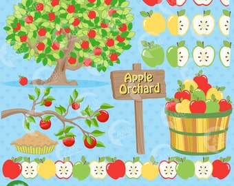 Apple clipart, Apple clip art, Orchard Clipart, Harvest clipart, Fall, Apple Tree, Apple Pie, Bushel Basket clipart, AMB-138
