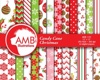 Traditional Christmas digital paper, Holiday Backgrounds, Scrapbooking, commercial use, digital clipart, instant download, AMB-1101