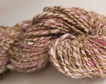 Alpaca, Corridale, Hand spun wool yarn, Worsted weight, Hand Dyed, Eco Friendly Wool Yarn, pink, tan, white