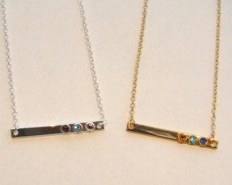 Mother's Birthstone Bar Necklace, Best Friend Gift, Mother's Day Gift, Minimalist Birthstone Bar Necklace