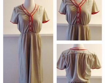 Casual Everyday Dress w/ Red Trim