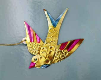 Mexican Tin Bird Decoration