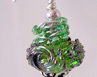 Green whirlwind lampwork bead and sterling silver earrings