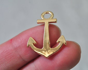 10pcs Gold Plated Anchor Charm Pendant Curved 28x21mm N293