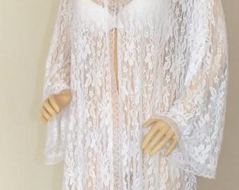 White-Ivory-Black'Red  lace robe, romantic robe, bridal robe, honeymoon robe, wedding robe,Honeymoon Robe