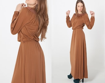 70s bohemian brown dress with embroidered collar Long sleeves maxi dress new with tag