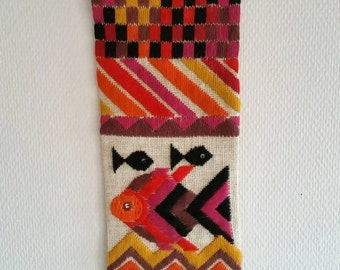 Amazing swedish embroidered wallhanging. Vintage wall decoration with fish 50s