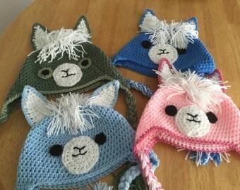 Crochet Llama Hat - Adult Sized