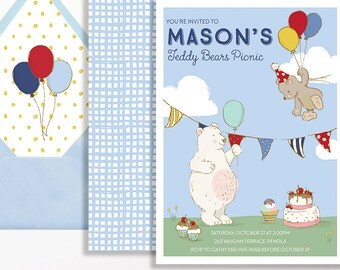 Teddy Bears Picnic Invitation 1st Birthday Balloons Party Red Yellow Blue Milestone 2nd 3rd 4th 5th 6th Bear Boys Girls Balloon Park BBQ