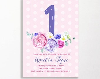 1st Birthday Invitation Girls Flowers Garden Party Floral Pink Purple Rose Roses Shabby Chic Spots Printable Digital DIY First Milestone