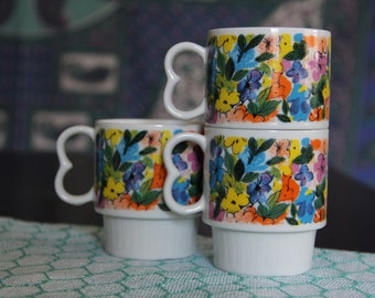 Stackable Flower Mugs (set of 3)/Coffee Mugs/Tea Cups/Tea Party/Flower Pattern/Retro Kitchen/Retro Cups/Stackable Cups