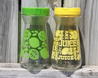 Retro Lemon Yellow & Lime Green Juice Pitchers