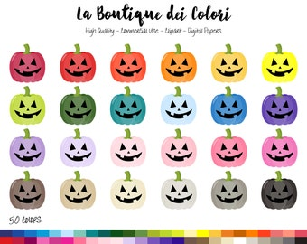 50 Rainbow Spooky Pumpkin Clip art, Cute Digital illustrations PNG, jack o lantern, Halloween Clipart, Planner Stickers Commercial Use