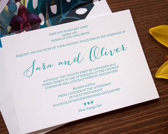 Letterpress Wedding Invitations - Amalfi Design
