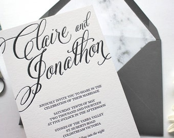 Letterpress Wedding Invitation - Lisbon